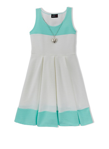 Girls 7-16 Color Block Dress with Pleated Skirt,IVORY/AQUA,large