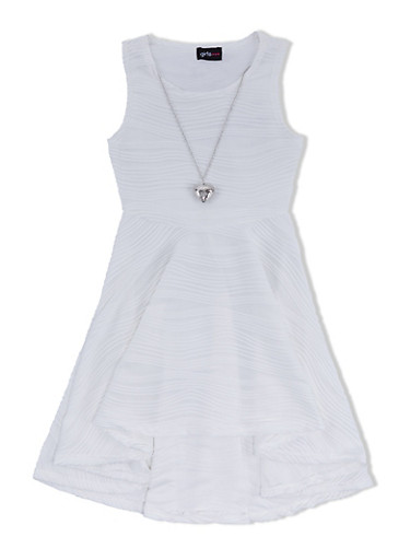 Girls 7-16 Textured Dress with High-Low Hem and Heart Necklace,IVORY,large