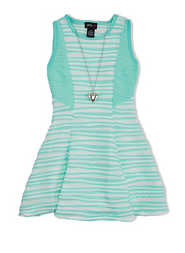 Girls 7-16 Textured Dress with Wave Knit Skirt and Heart Necklace,AQUA/IVY/AQUA,large