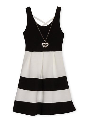 Girls 7-16 Sleeveless Caged Back Color Block Dress with Neckkace,BLACK,large