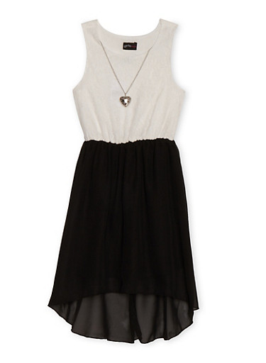 Girls 7-16 Sleeveless Lace Crepe Dress with Necklace,BLACK,large