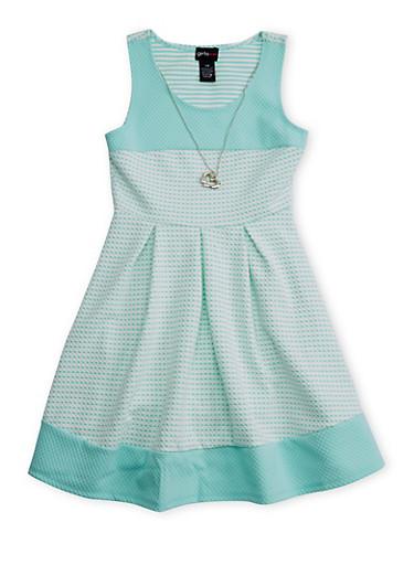 Girls 7-16 Sleeveless Checkered Dress with Necklace,AQUA,large
