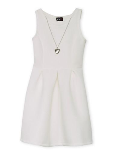Girls 7-16 Soft Knit Skater Dress with Necklace,IVORY,large