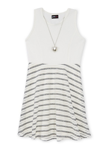 Girls 7-16 Textured Knit Shadow Stripe Skater Dress with Necklace,IVORY,large