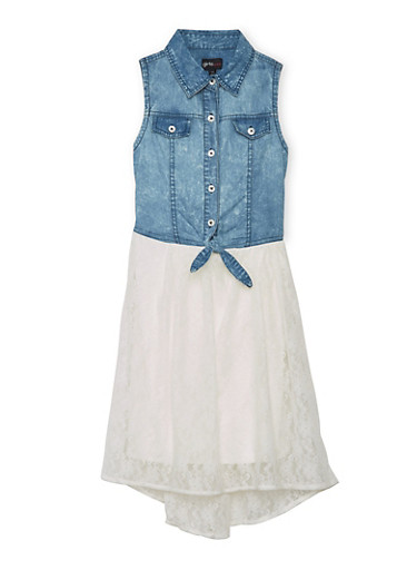 Girls 7-16 Button Up Denim and Lace Dress,DENIM,large