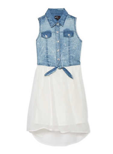 Girls 7-16 Denim Dress with Asymmetrical Hem,IVORY,large