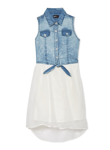 Girls 7-16 Sleeveless Denim Dress with Asymmetrical Skirt,IVORY,large