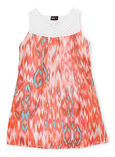 Girls 7-16 Printed Tank Dress with Crochet Yoke,CORAL,large