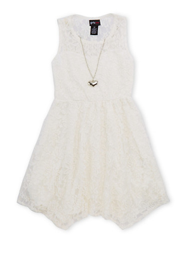 Girls 7-16 Lace Skater Dress with Necklace,IVORY,large