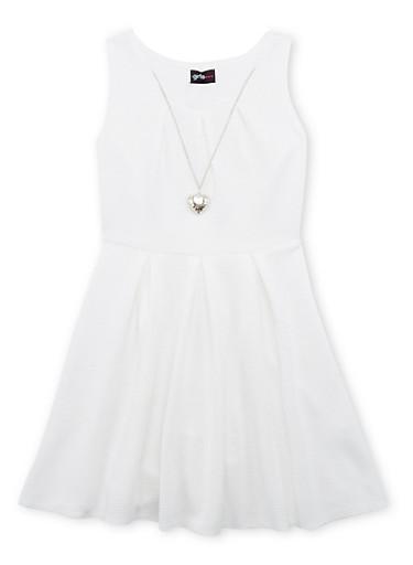 Girls 7-16 Sleeveless Skater Dress with Necklace,IVORY,large