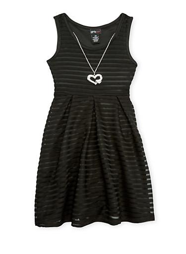 Girls 7-16 Sleeveless Shadow Stripe Skater Dress with Necklace,BLACK,large