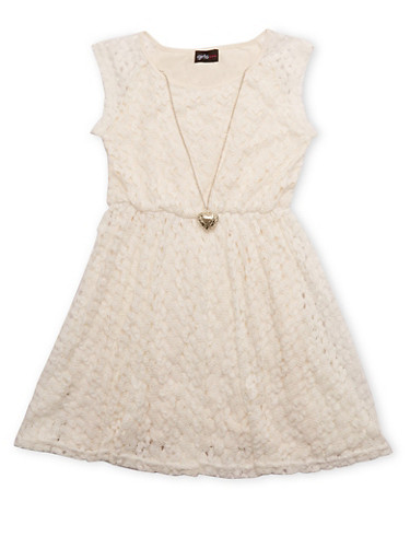 Girls 7-16 Sleeveless Crochet Knit Dress with Necklace,IVORY,large