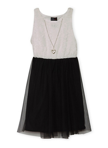 Girls 7-16 Sleeveless Lace Dress with Tulle Skirt and Necklace,BLACK,large