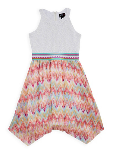Girls 7-16 Lace Printed Dress with Embroidered Waist,PINK,large