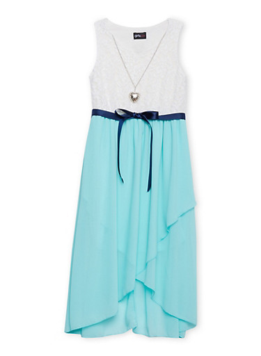 Girls 7-16 Belted Lace Asymmetrical Dress with Necklace,AQUA,large