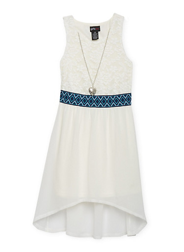 Girls 7-16 Half Lace High Low Dress with Necklace,IVORY,large