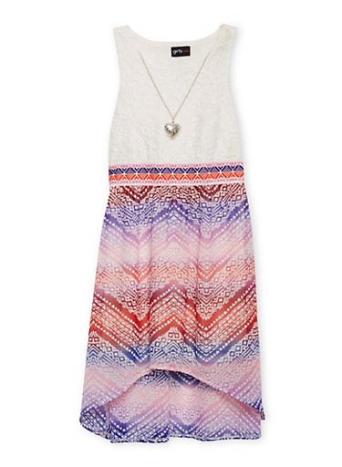 Girls 7-16 Crochet Printed High Low Dress with Necklace,PURPLE,large