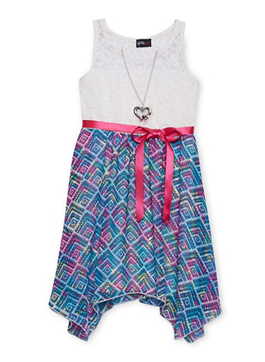 Girls 7-16 Lace Printed Sharkbite Dress with Necklace,IVORY,large