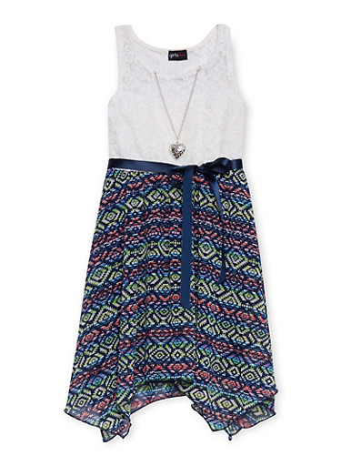 Girls 7-16 Lace Printed Sharkbite Dress with Necklace at Rainbow Shops in Jacksonville, FL | Tuggl