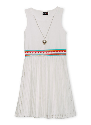 Girls 7-16 Mesh Embroidered Tank Dress with Necklace,IVORY,large