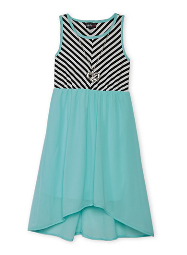 Girls 7-16 Striped Tank Dress with Necklace,AQUA,large