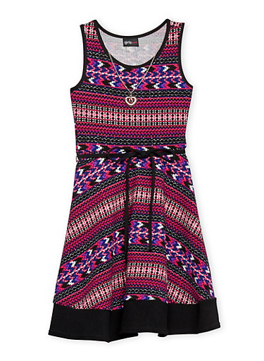 Girls 7-16 Multi Color Sleeveless Dress with Rope Tied Waist and Necklace,FUCHSIA,large