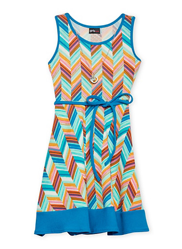 Girls 7-16 Multi Color Sleeveless Dress with Rope Tied Waist and Necklace,MULTI COLOR,large