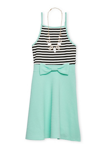Girls 7-16 Textured Knit Striped Dress with Necklace,AQUA,large