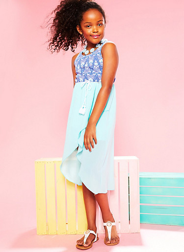 Girls 7-16 Printed Multi Strap Caged BackDress with Rope Belt,AQUA,large