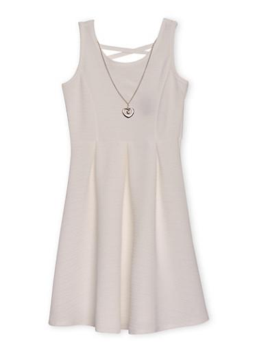 Girls 7-16 Sleeveless Ponte Knit Dress with Necklace,IVORY,large