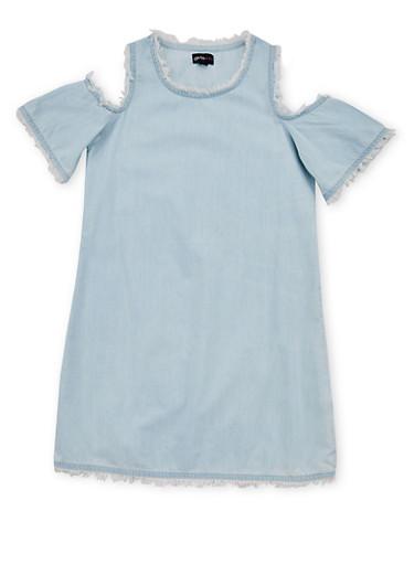 Girls 7-16 Cold Shoulder Denim Dress with Frayed Trim,DENIM,large