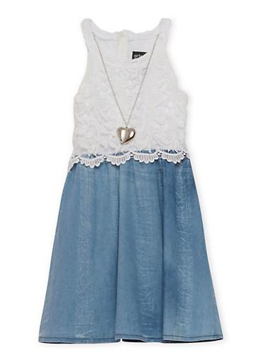 Girls 7-16 Sleeveless Crochet Denim Dress with Necklace,MEDIUM WASH,large