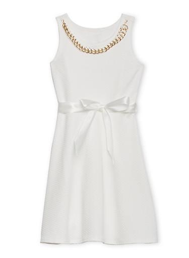 Girls 7-16 Soft Knit Skater Dress with Sash Belt and Necklace,IVORY,large