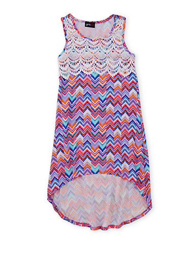 Girls 7-16 Printed High Low Dress with Crochet Yoke at Rainbow Shops in Jacksonville, FL | Tuggl