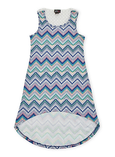 Girls 7-16 High Low Printed Tank Dress with Crochet Back,NAVY,large