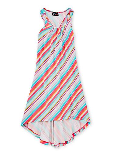 Girls 7-16 Printed High Low Tank Dress,PINK,large