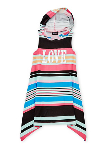 Girls 7-16 Striped Graphic Dress with Hood,FUCHSIA,large