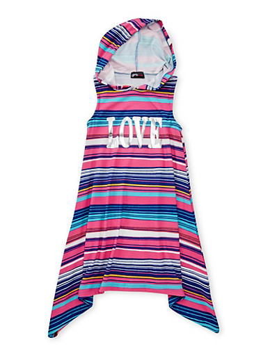 Girls 7-16 Love Graphic Striped Dress with Hood,FUCHSIA,large