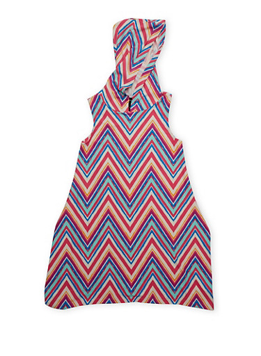 Girls 7-16 Hooded Printed Tank Dress with Sharkbite Hem,FUCHSIA,large