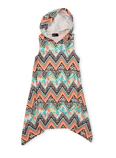 Girls 7-16 Hooded Multicolor Print Dress,TURQUOISE,large