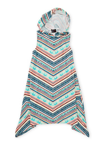 Girls 7-16 Hooded Multicolor Print Dress at Rainbow Shops in Jacksonville, FL | Tuggl