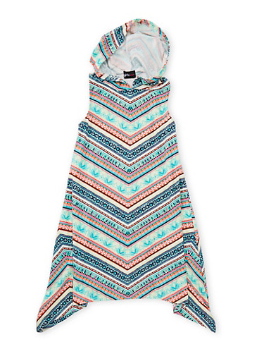 Girls 7-16 Printed Sharkbite Dress with Hood,CORAL,large