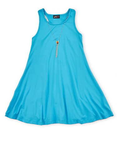 Girls 7-16 Sleeveless Trapeze Dress with Necklace,TURQUOISE,large
