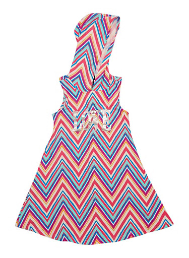 Girls 7-16 Chevron Love Graphic Dress with Hood,PINK,large