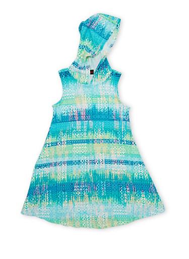 Girls 7-16 Multi Color Hooded Tank Dress,AQUA,large