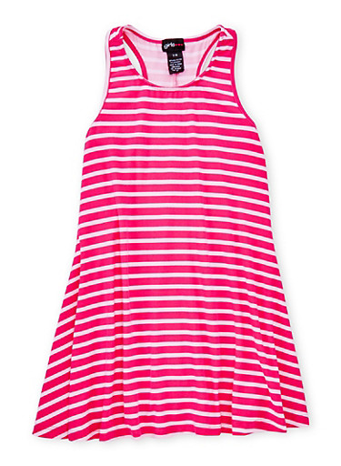Girls 7-16 Sleeveless Striped Tank Dress,FUCHSIA,large