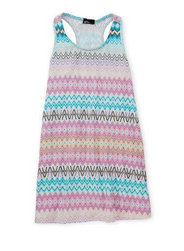 Girls 7-16 Sleeveless Printed Tank Dress,AQUA,large