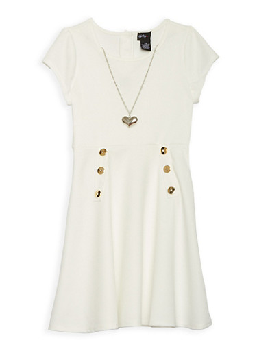 Girls 7-16 Button Detail Skater Skirt with Necklace,IVORY,large