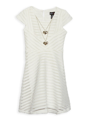 Girls 7-16 Textured Knit Skater Dress with Necklace,IVORY,large