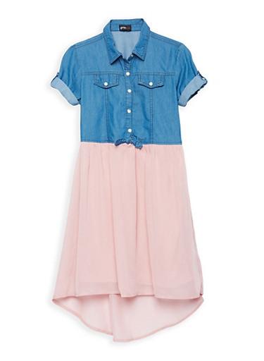 Girls 7-16 Denim Crepe High Low Dress,MAUVE/MED DNM,large